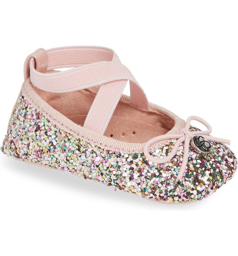 JESSICA SIMPSON Glitter Mary Jane Crib Shoe, Main, color, PINK MULTI GLITTER