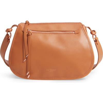 Ted Baker London Heatherr Curved Leather Crossbody Bag - Brown