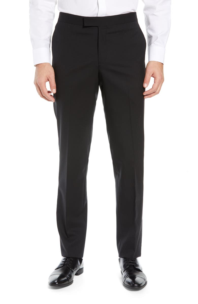 NORDSTROM MEN'S SHOP Slim Fit Stretch Wool Tuxedo Dress Pants, Main, color, BLACK
