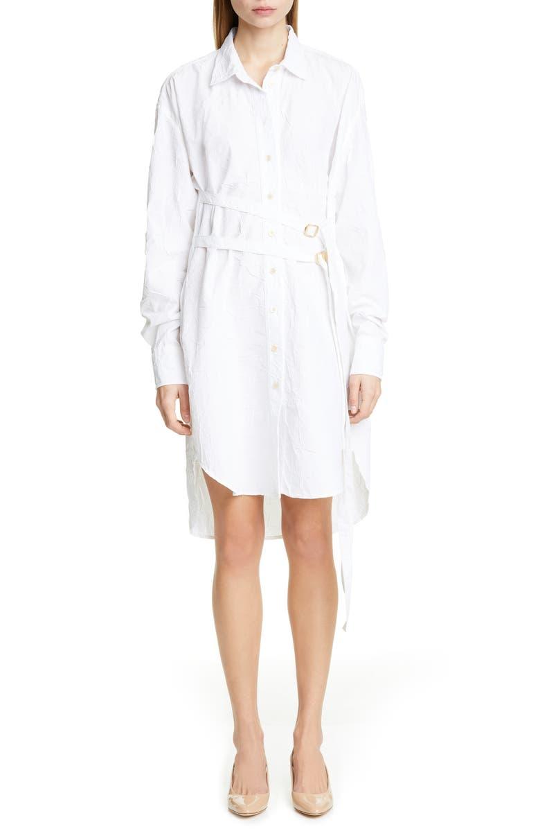 SIES MARJAN Long Sleeve Crinkled Poplin Shirtdress, Main, color, 100