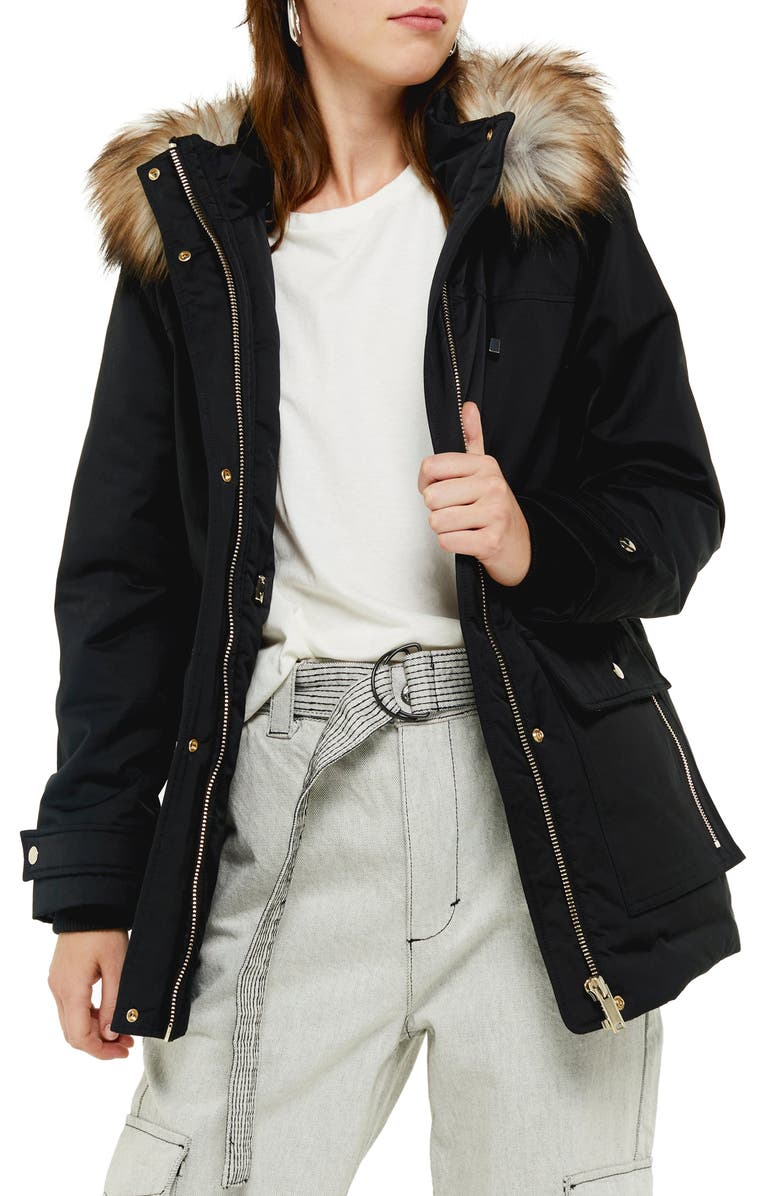 TOPSHOP Tilly Hooded Parka with Faux Fur Trim, Main, color, BLACK