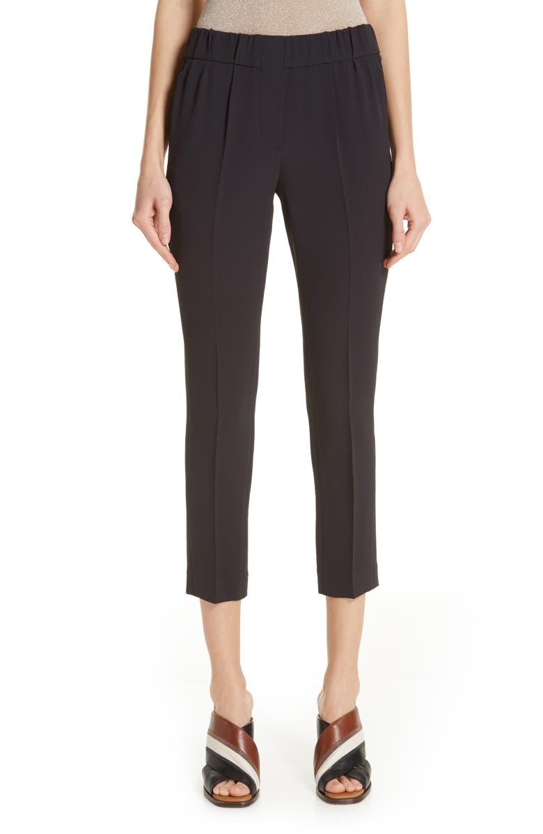 BRUNELLO CUCINELLI Crop Crepe Cady Pants, Main, color, VOLCANO