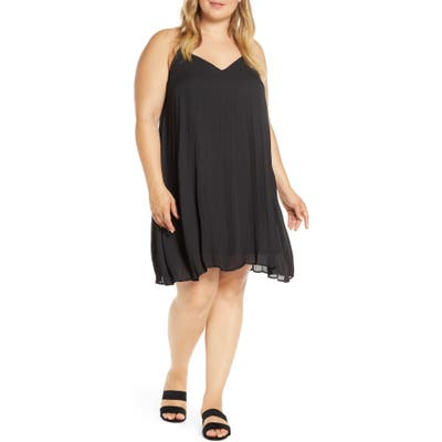 Plus Size Gibson X Hot Summer Nights Almost Ready Pleated Minidress, Black (Plus Size) (Nordstrom Exclusive)