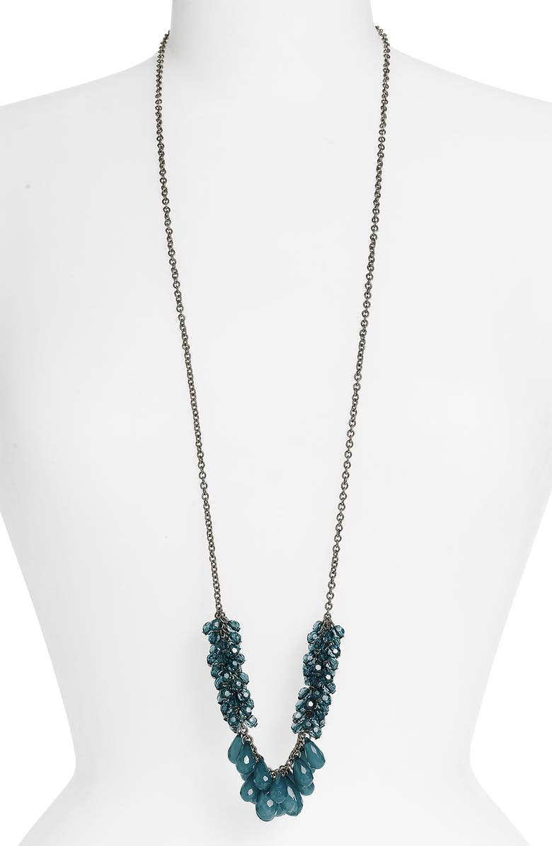 STEPHAN & CO. Bead Drop Necklace, Main, color, TEAL