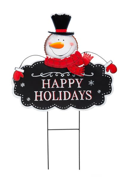 Image of EVERGREEN ENTERPRISES Happy Holiday Snowman Garden Stake