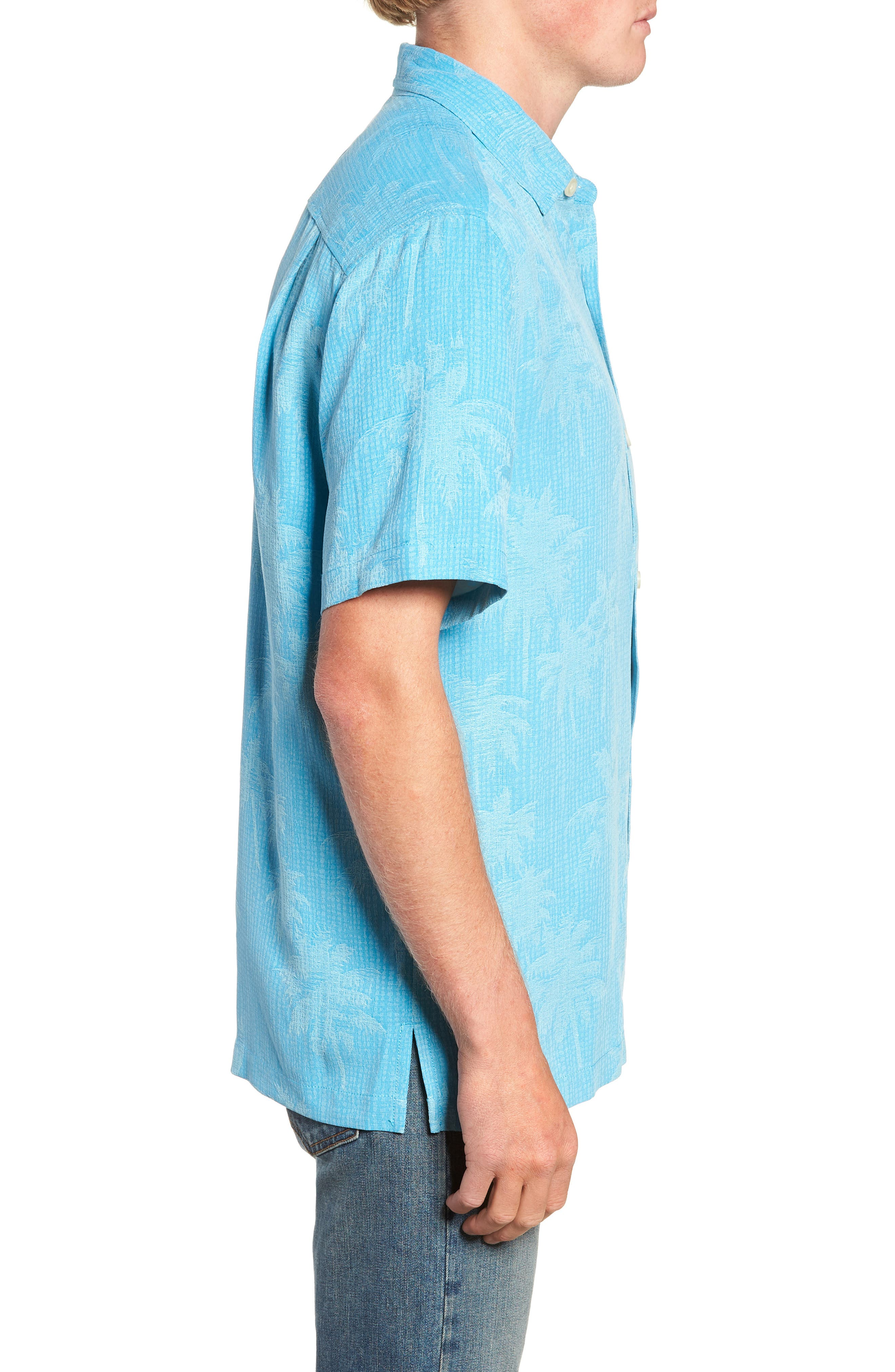,                             Digital Palms  Classic Fit Silk Sport Shirt,                             Alternate thumbnail 4, color,                             MAUI BLUE