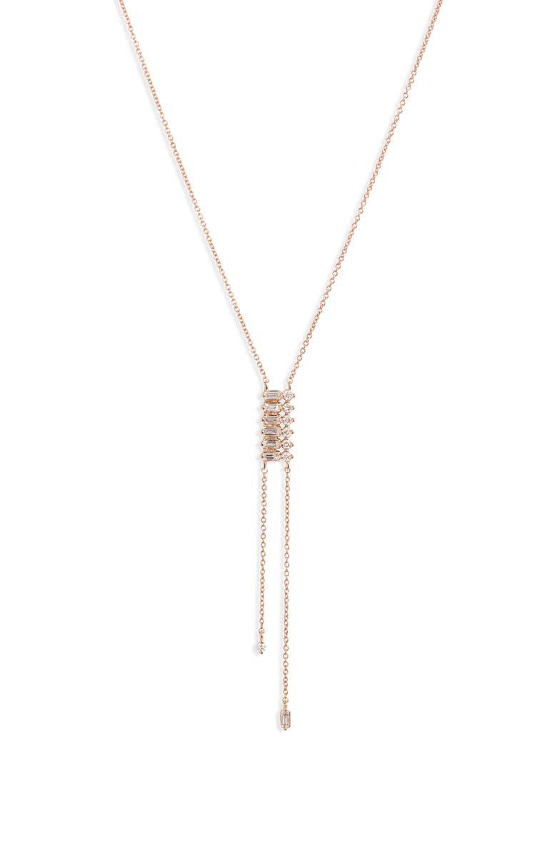 DANA REBECCA DESIGNS Sadie Diamond Lariat Necklace, Main, color, ROSE GOLD/ DIAMOND