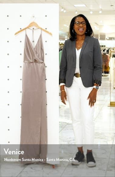 Lana Crepe Back Satin Faux Wrap Evening Gown, sales video thumbnail