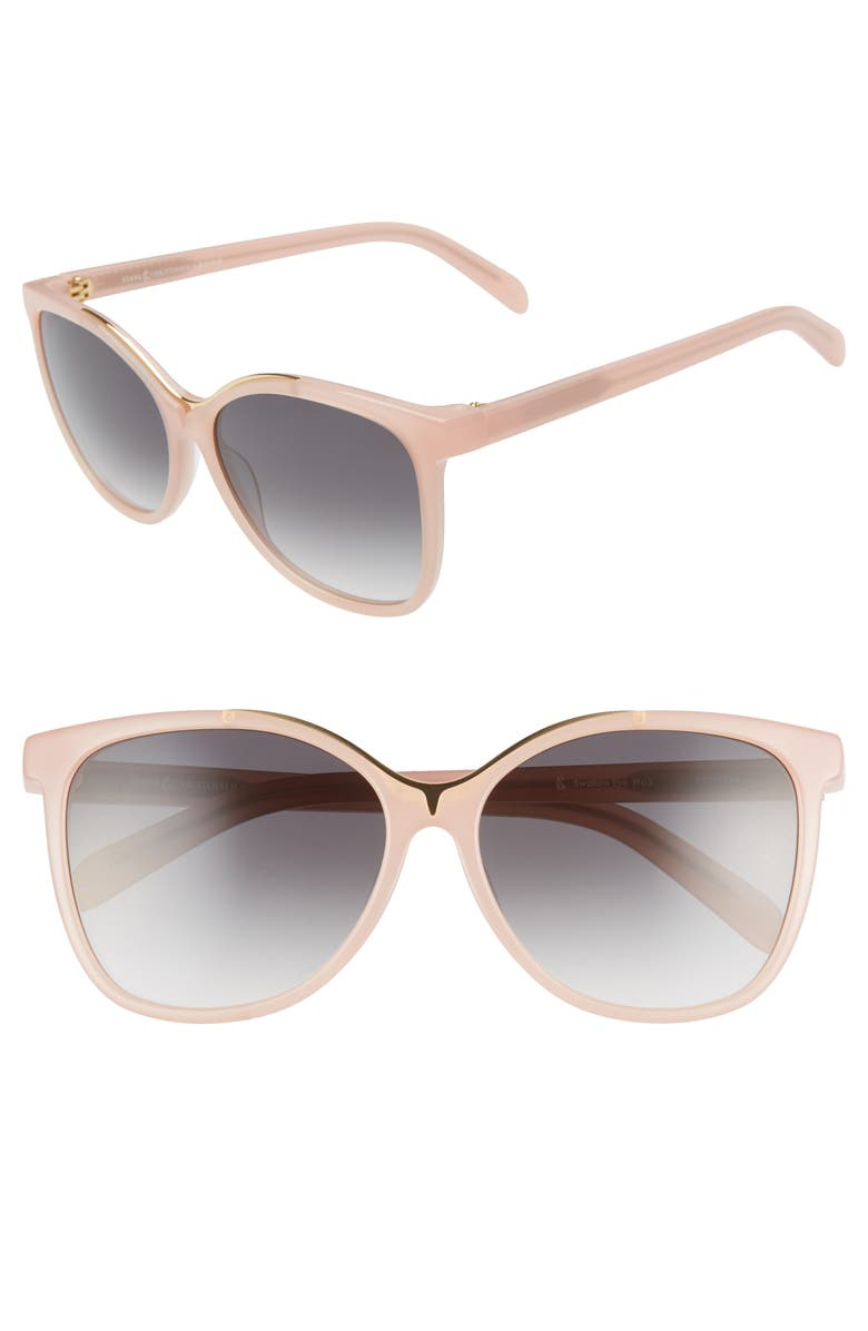 PARED x STÆRK&CHRISTENSEN Swallows 58mm Sunglasses with Removable Chain, Main, color, BLUSH/ GOLD/ GRADIENT GREY