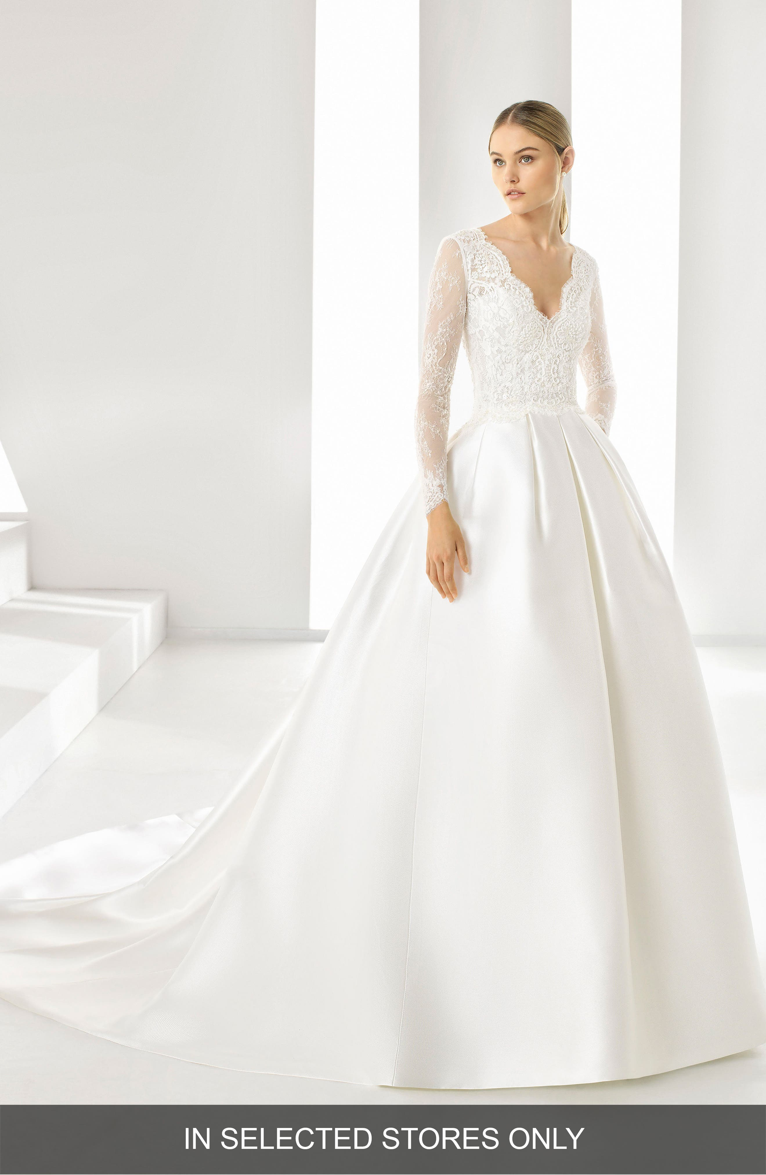 Rosa Clara Drue V-Neck Pleated Ballgown, Size IN STORE ONLY - Ivory
