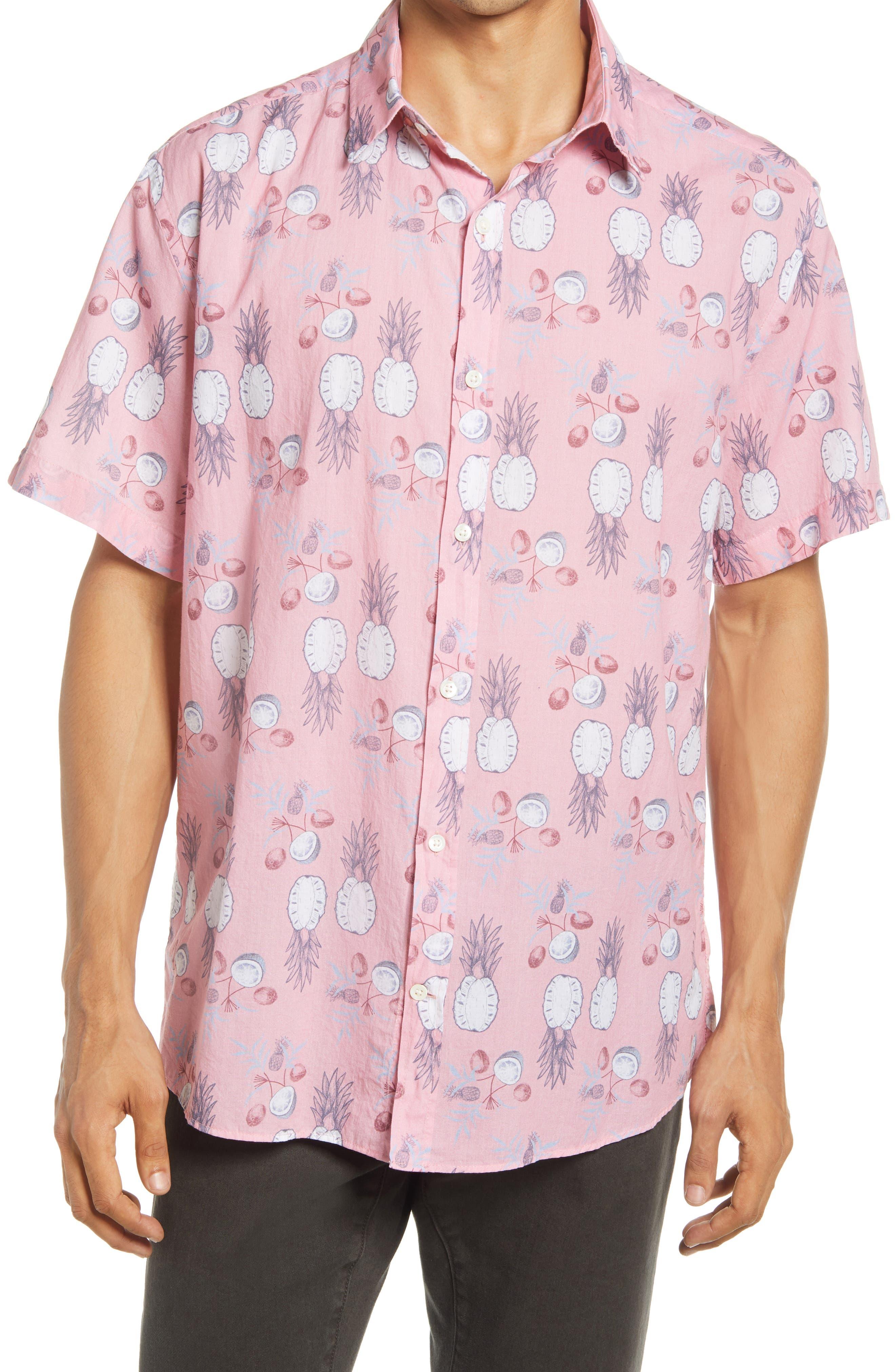 Pineapple Print Short Sleeve Button-Up Shirt