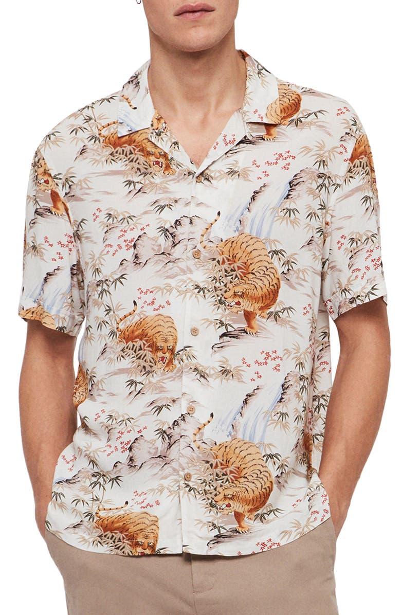 ALLSAINTS Sumatra Slim Fit Short Sleeve Shirt, Main, color, ECRU WHITE