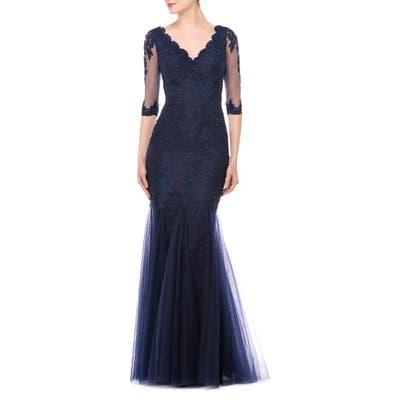 Marsoni Godet Lace & Chiffon Trumpet Gown, 0 (similar to 20W) - Blue