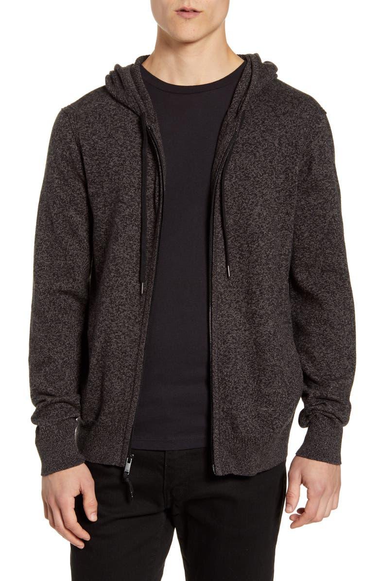 JOHN VARVATOS STAR USA Richmond Cotton Blend Zip Hoodie, Main, color, CHARCOAL
