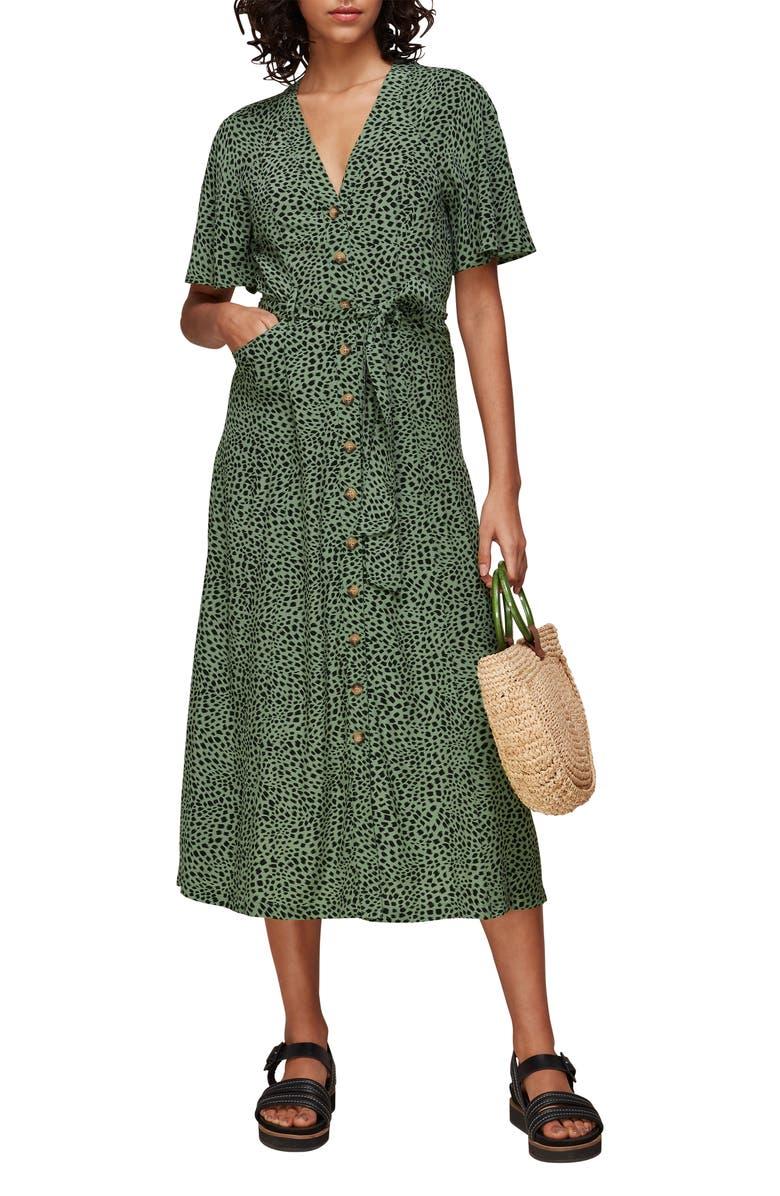 WHISTLES Anita Spotted Animal Midi Dress, Main, color, GREEN/ MULTI