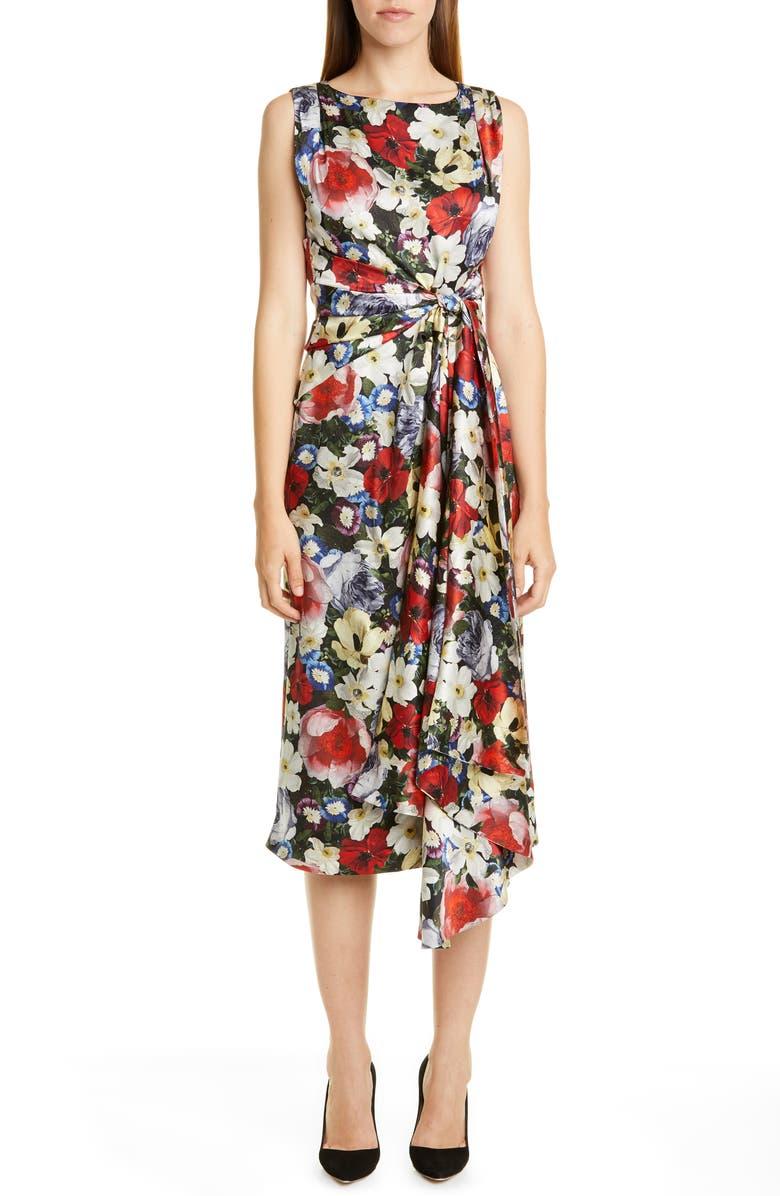 ERDEM Poppy Collage Floral Silk Sleeveless Midi Dress, Main, color, BLACK / MULTI