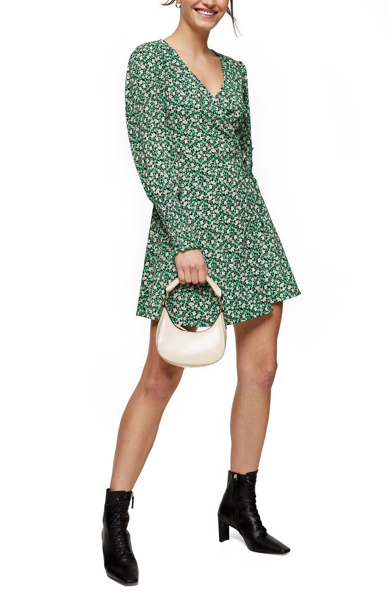 TOPSHOP Floral Print Long Sleeve Wrap Minidress, Main, color, GREEN