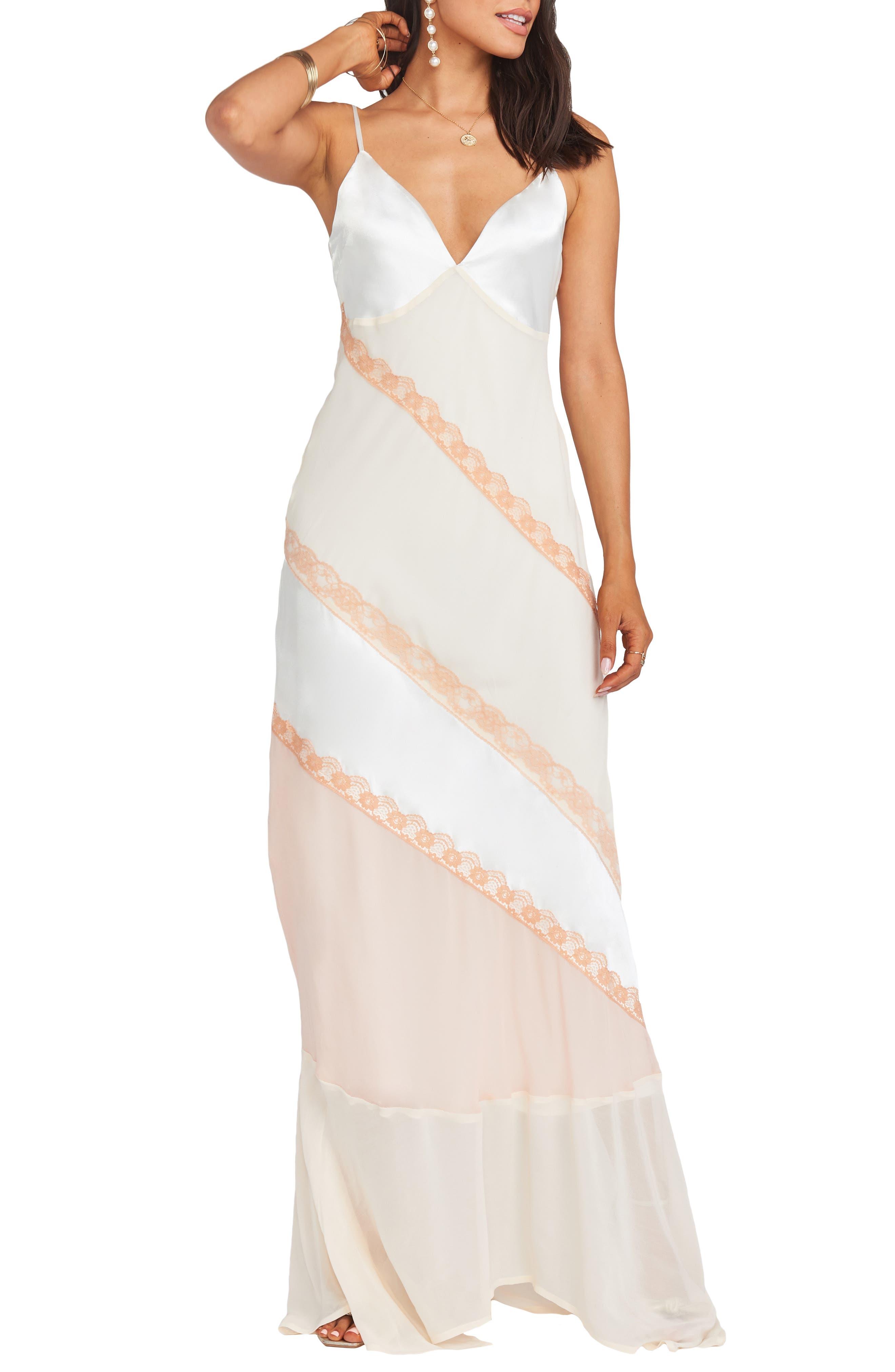 60s Wedding Dresses | 70s Wedding Dresses Womens Show Me Your Mumu Allure Colorblock Slipdress $168.00 AT vintagedancer.com