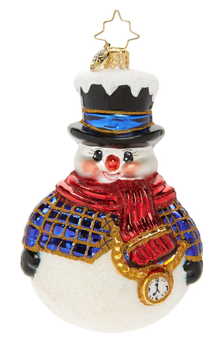 CHRISTOPHER RADKO Jolly All A-Round Snowman Glass Ornament, Main, color, WHITE