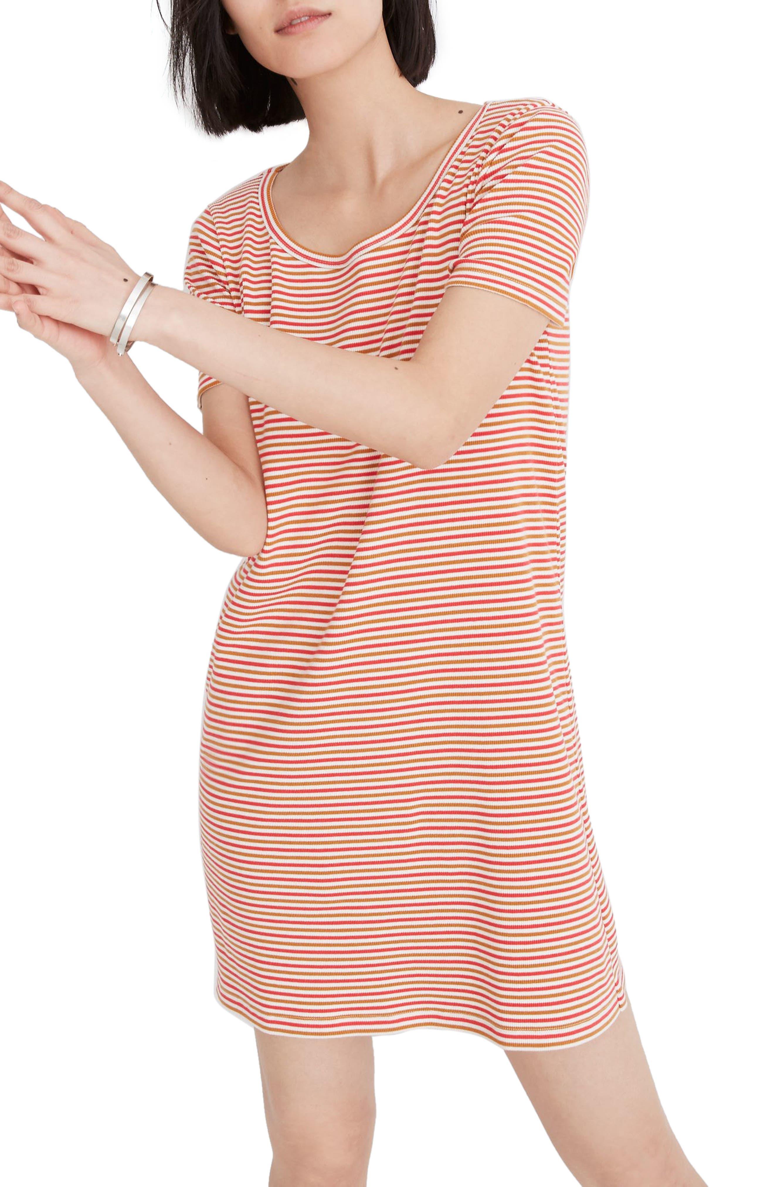 Madewell Stripe Swingy T-Shirt Dress, Orange