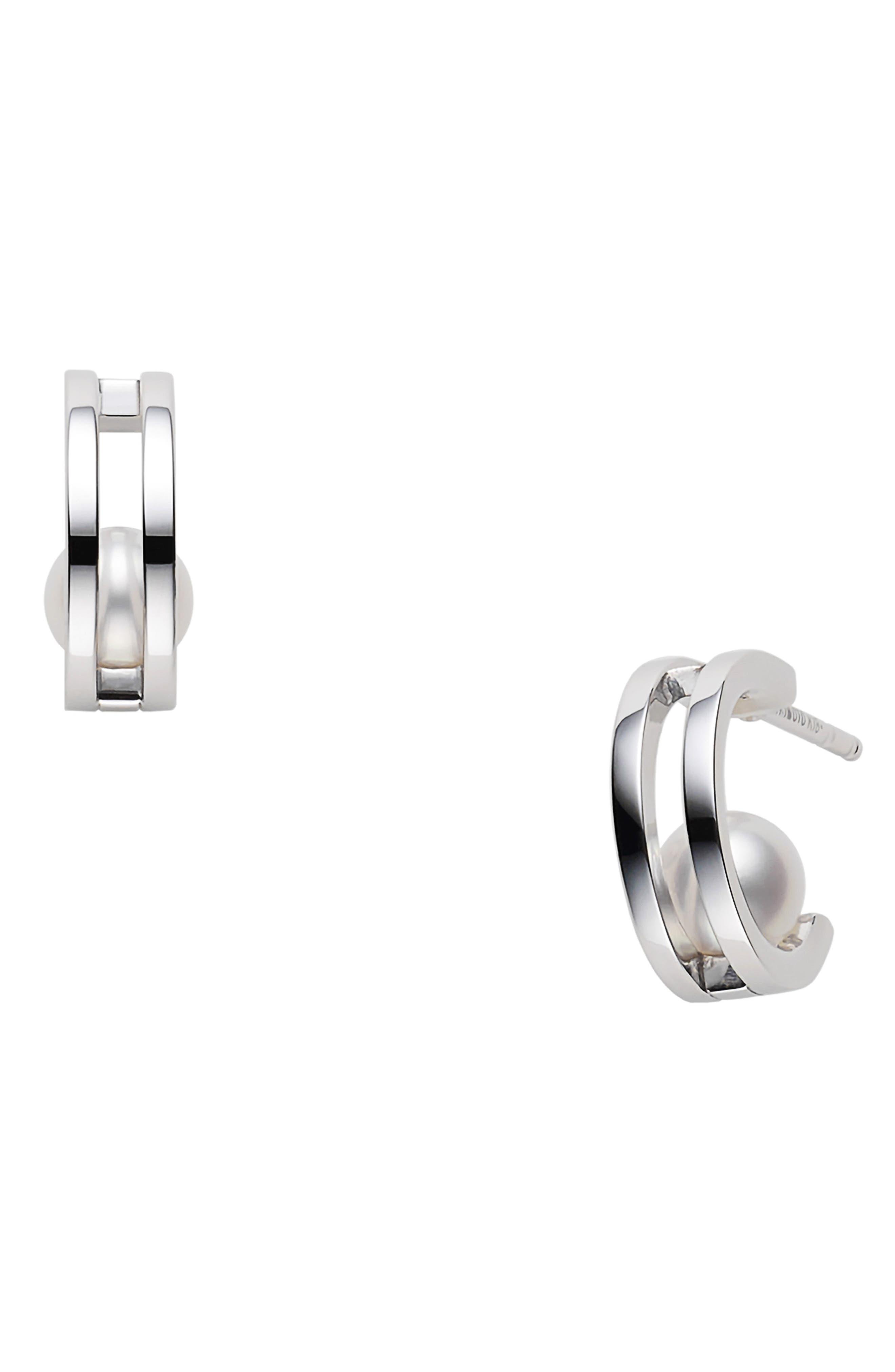 Classic Cultured Pearl Hoop Earrings
