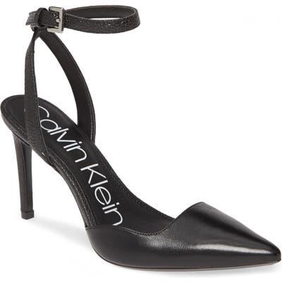 Calvin Klein Raffaela Ankle Strap Stiletto Pump, Black