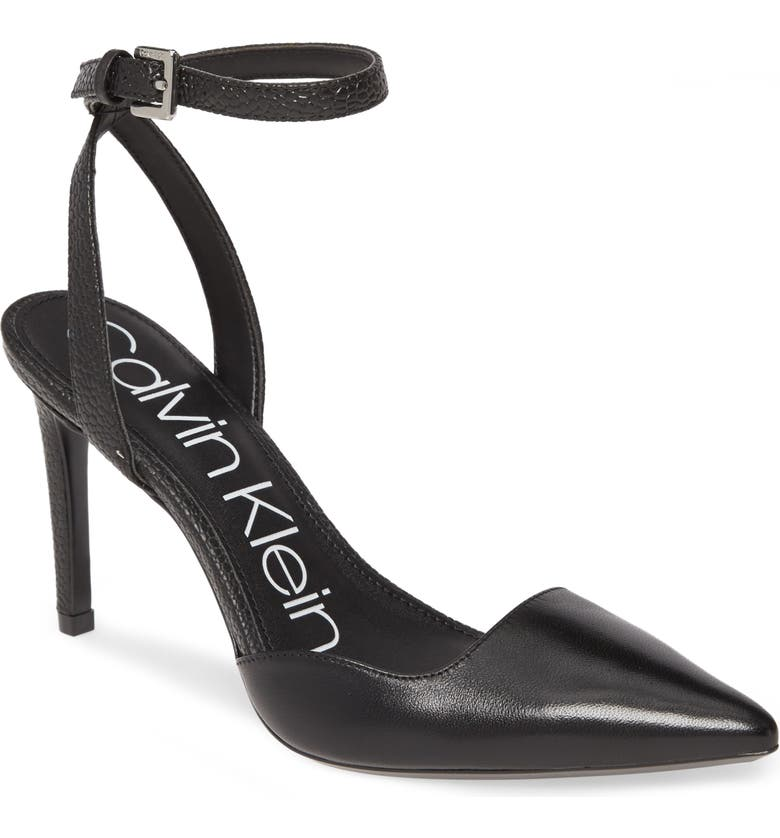 CALVIN KLEIN Raffaela Ankle Strap Stiletto Pump, Main, color, BLACK LEATHER