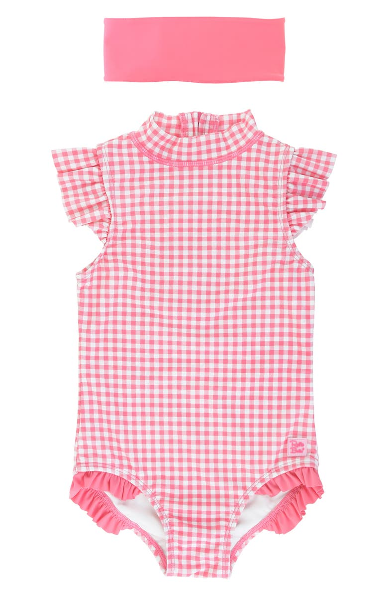 RUFFLEBUTTS Rose Gingham One-Piece Swimsuit & Headband Set, Main, color, PINK