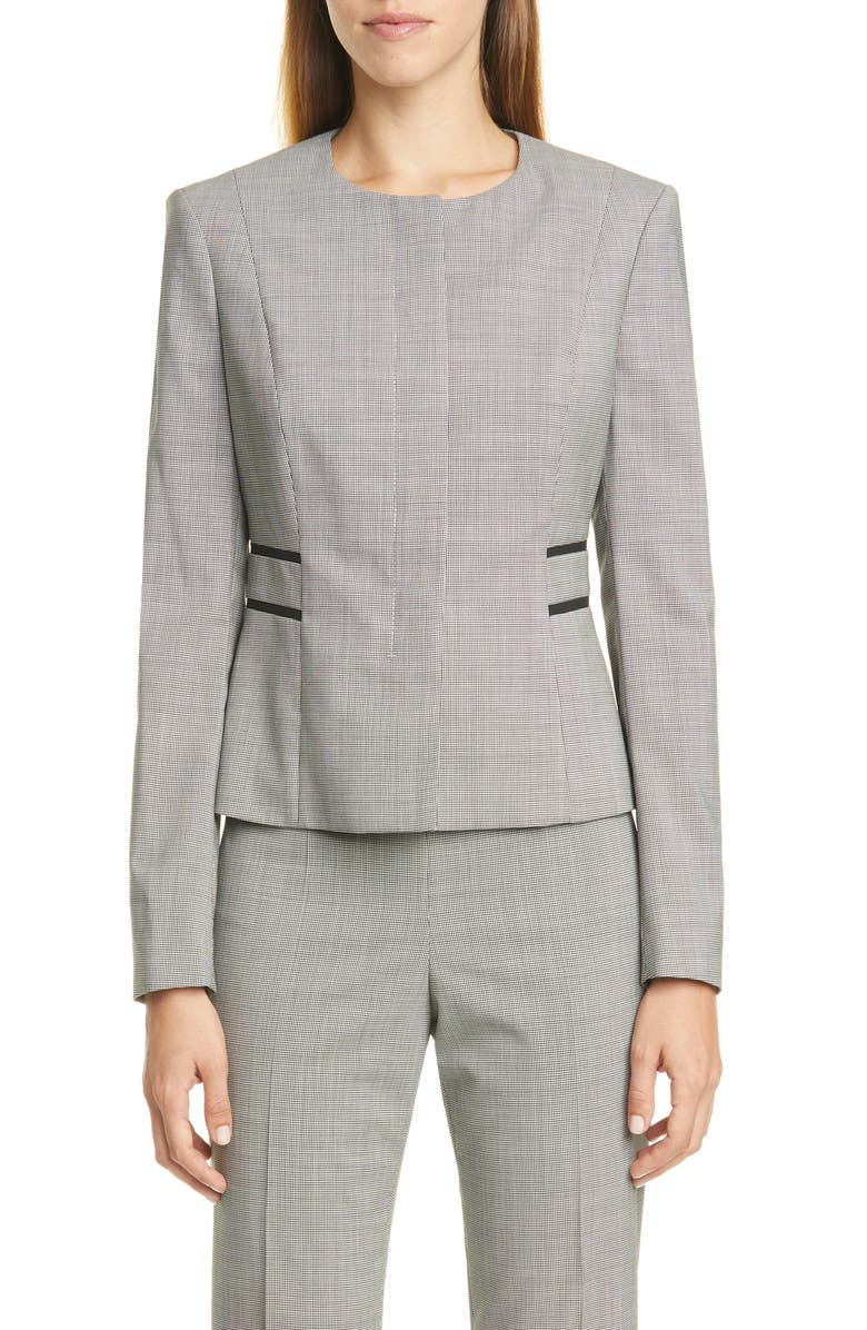 BOSS Javilla Stretch Wool Collarless Jacket, Main, color, BLACK FANTASY