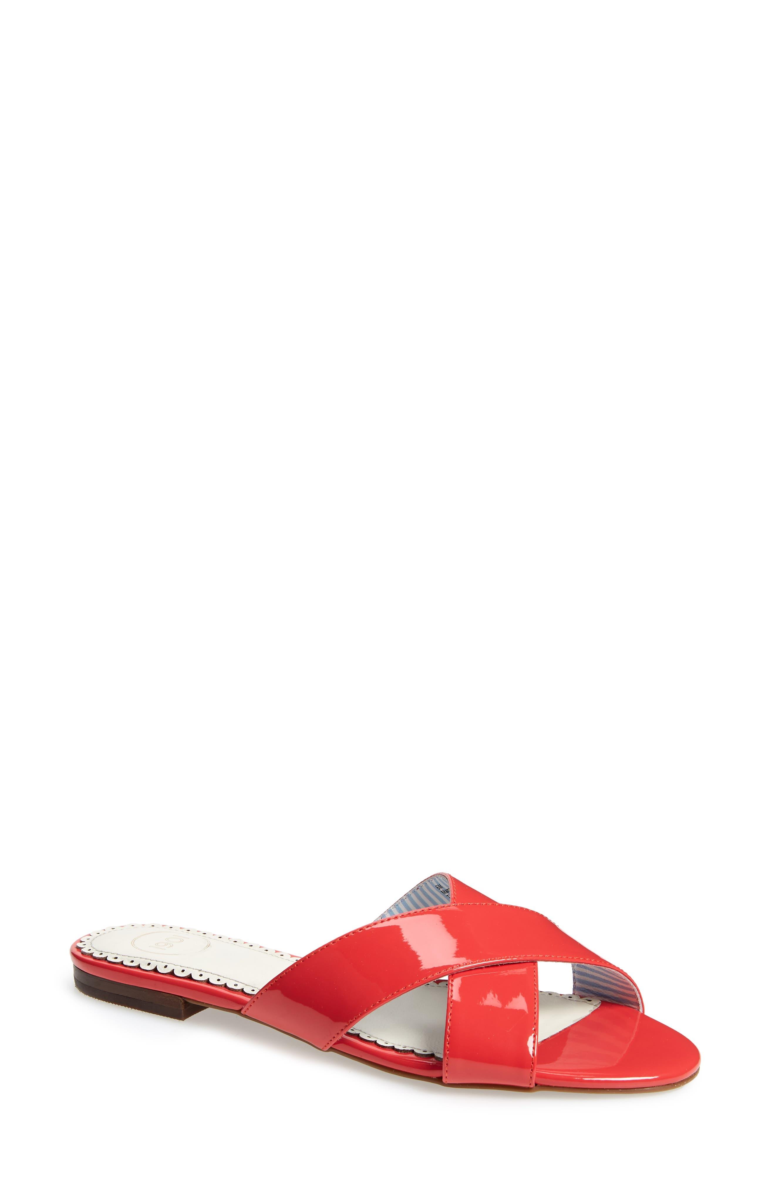 1901 Bryers Cross Band Slide Sandal, Red