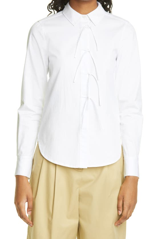 Rebecca Taylor Cottons COMPACT TWILL TIE FRONT BUTTON-UP SHIRT