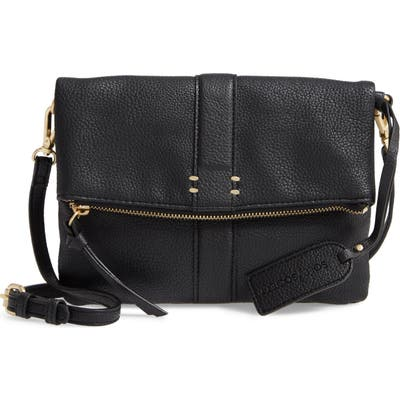 Sole Society Kwaye Faux Leather Foldover Clutch - Black