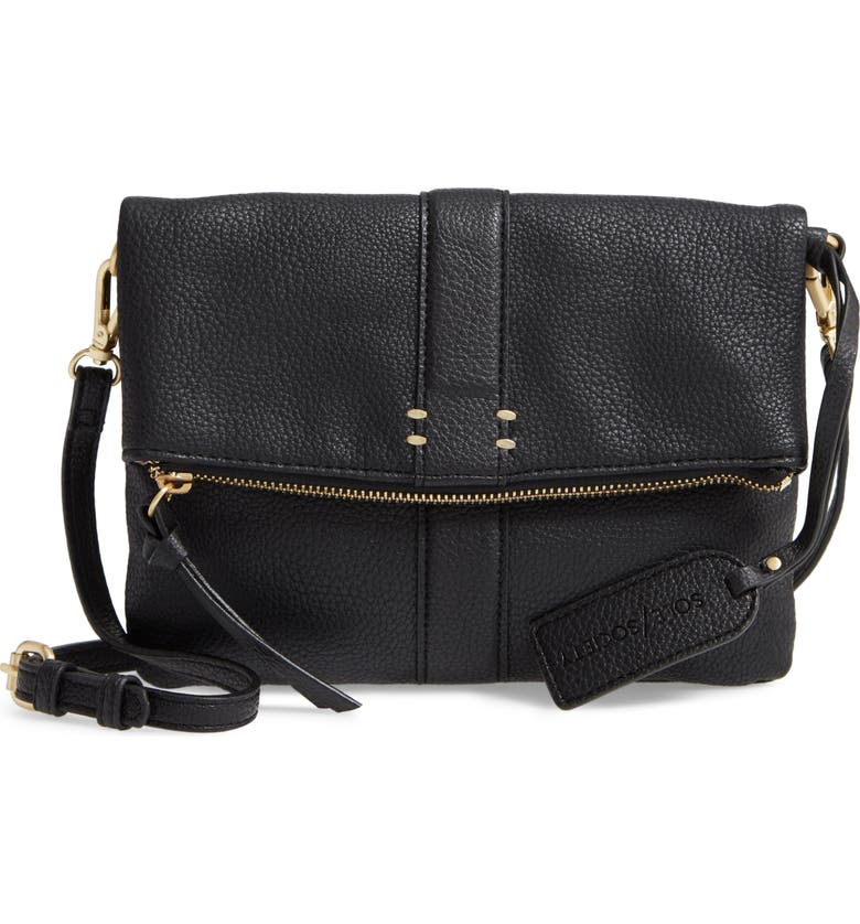 SOLE SOCIETY Kwaye Faux Leather Foldover Clutch, Main, color, BLACK