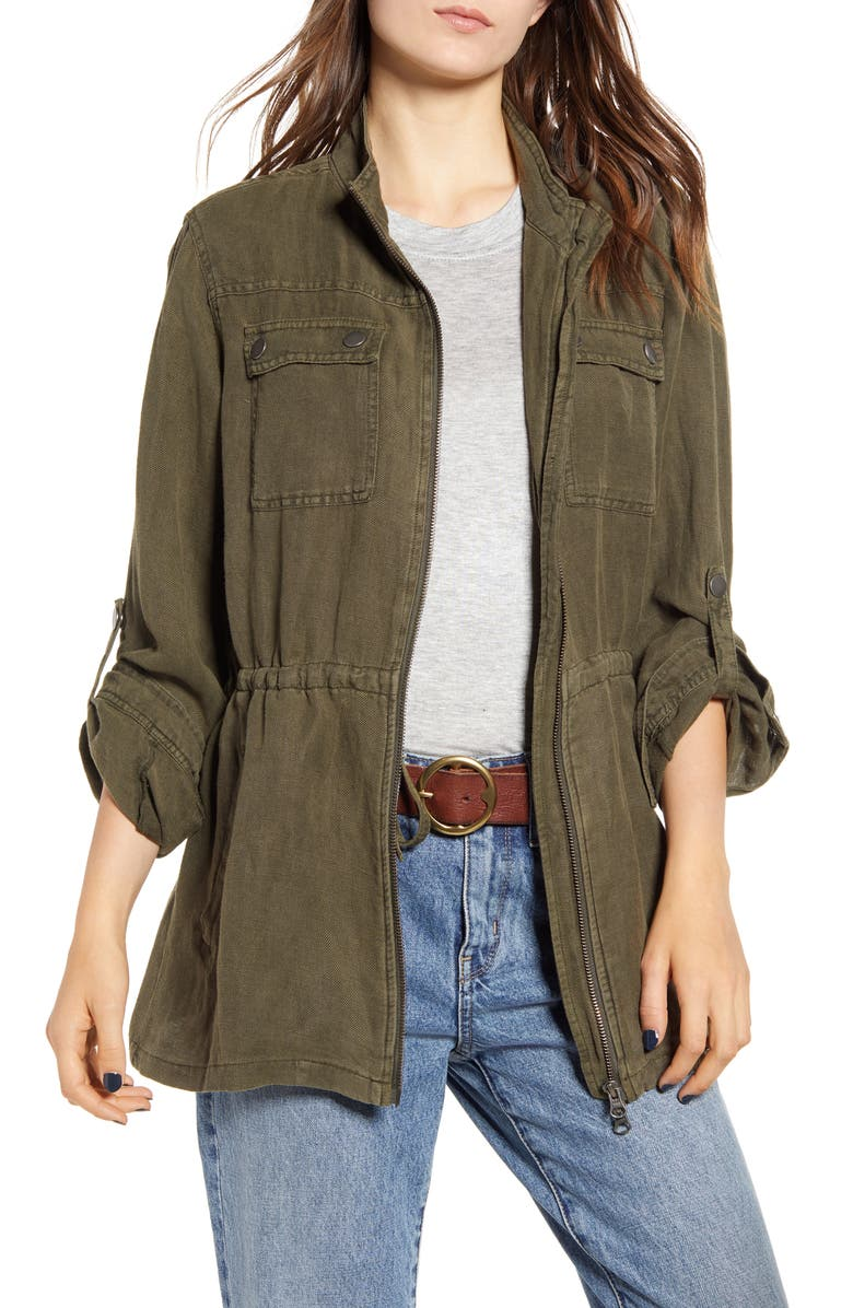 TREASURE & BOND Linen Blend Field Jacket, Main, color, OLIVE SARMA