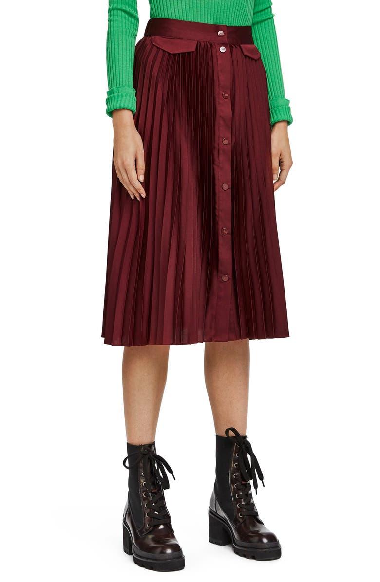 SCOTCH & SODA Pleat Midi Skirt, Main, color, AUBERGINE