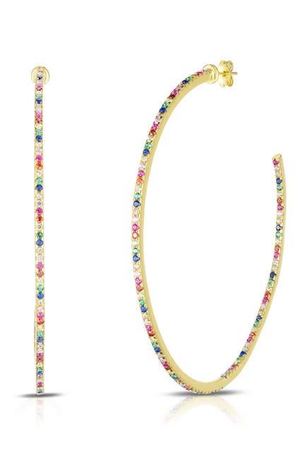 Image of Sphera Milano 14K Gold Plated Sterling Silver Rainbow CZ Hoop Earrings