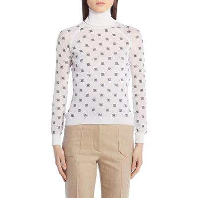 Fendi Logo Embroidered Mesh Sleeve Wool, Silk & Cashmere Sweater, US - White