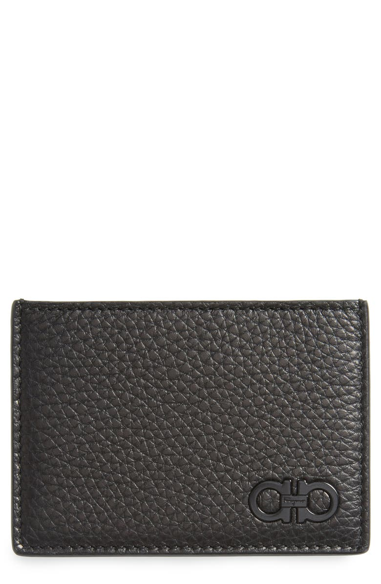 SALVATORE FERRAGAMO Calfskin Leather Card Case, Main, color, BLACK