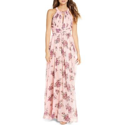 Marchesa Notte Floral Metallic Chiffon Bridesmaid Gown, Pink