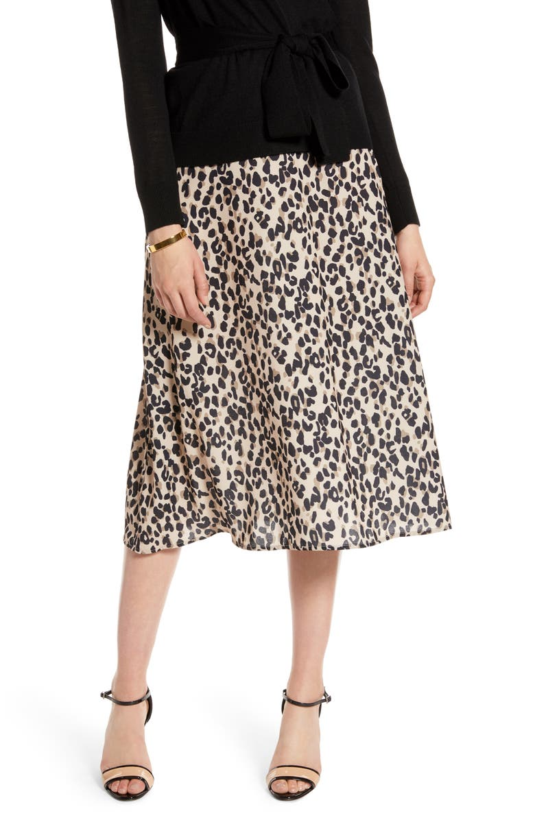 HALOGEN<SUP>®</SUP> Midi Skirt, Main, color, TAN ANIMAL PRINT