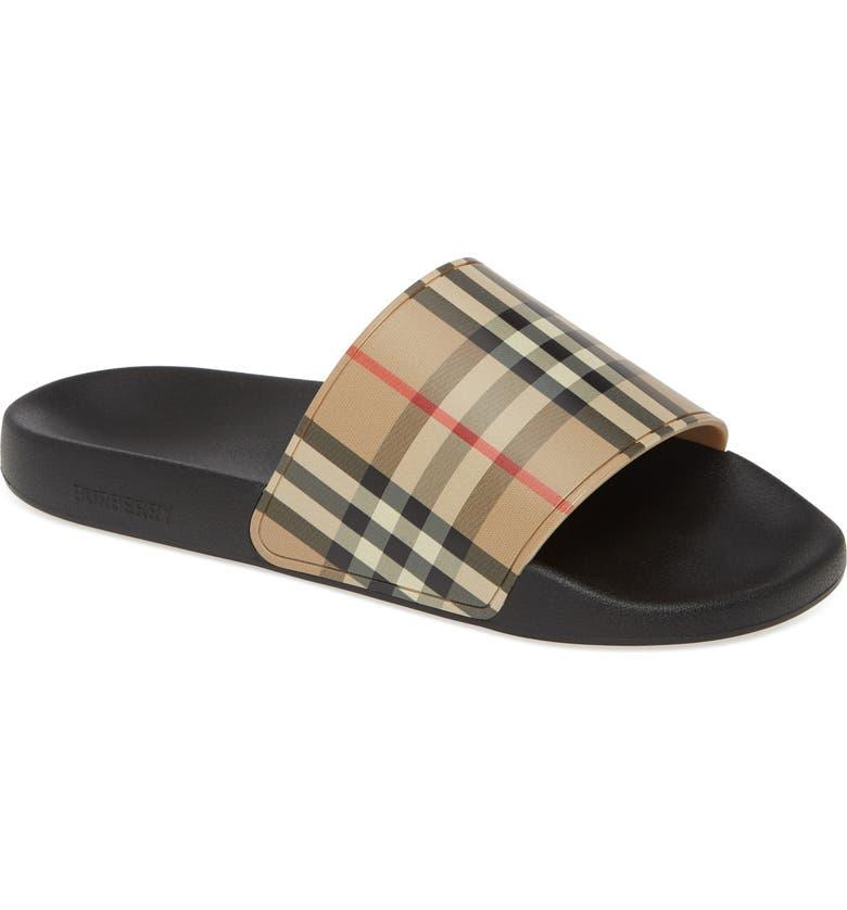 BURBERRY Furley Check Slide Sandal, Main, color, ARCHIVE BEIGE