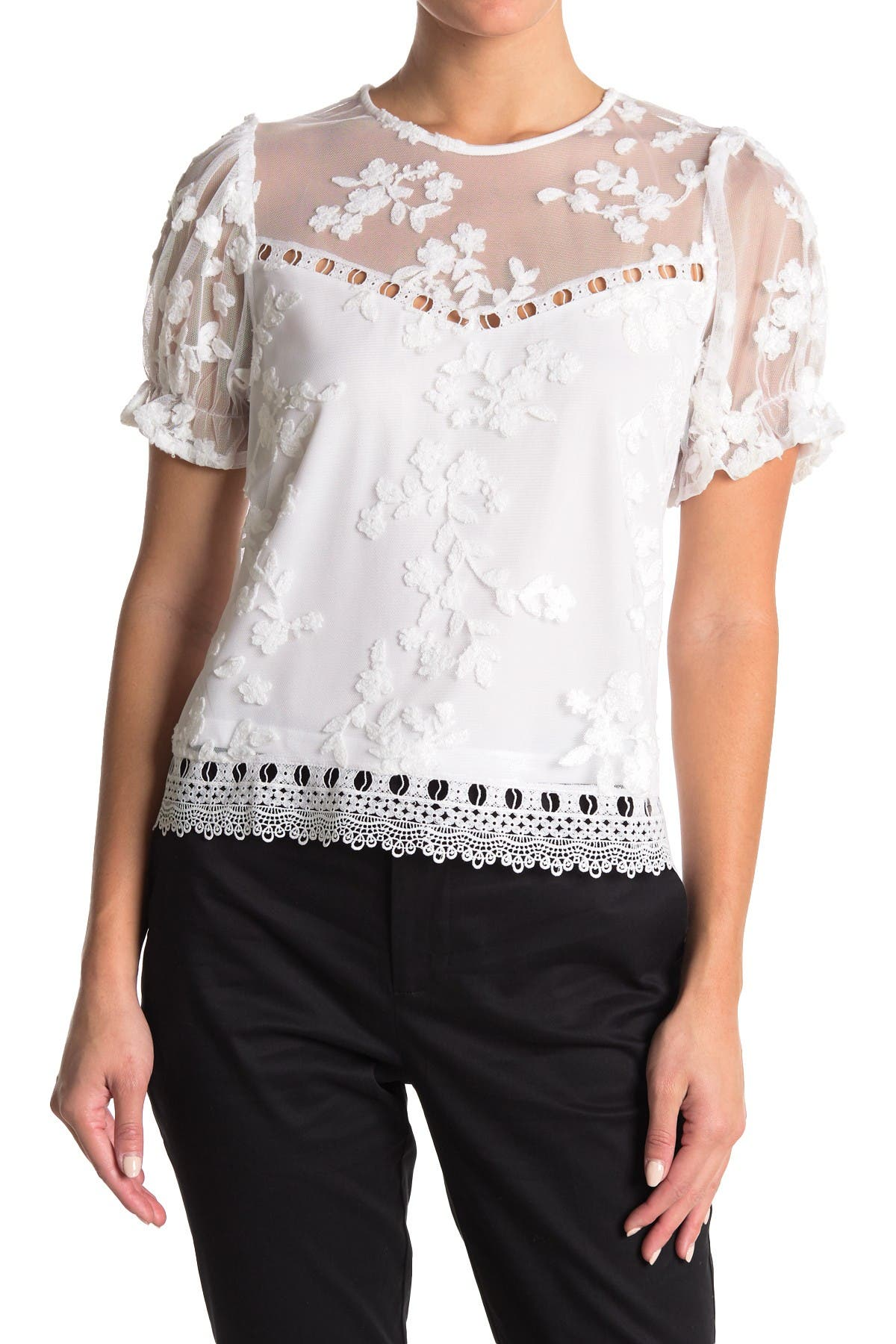Image of Laundry By Shelli Segal Embroidered Puff Sleeve Lace Top
