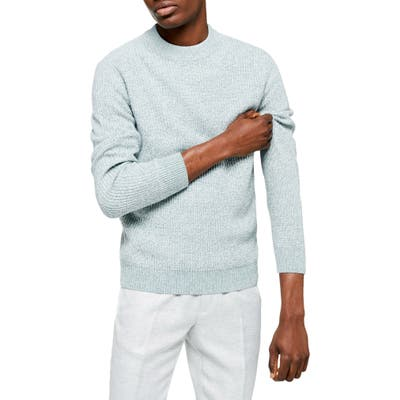 Topman Classic Fit Ribbed Mock Neck Sweater, Blue