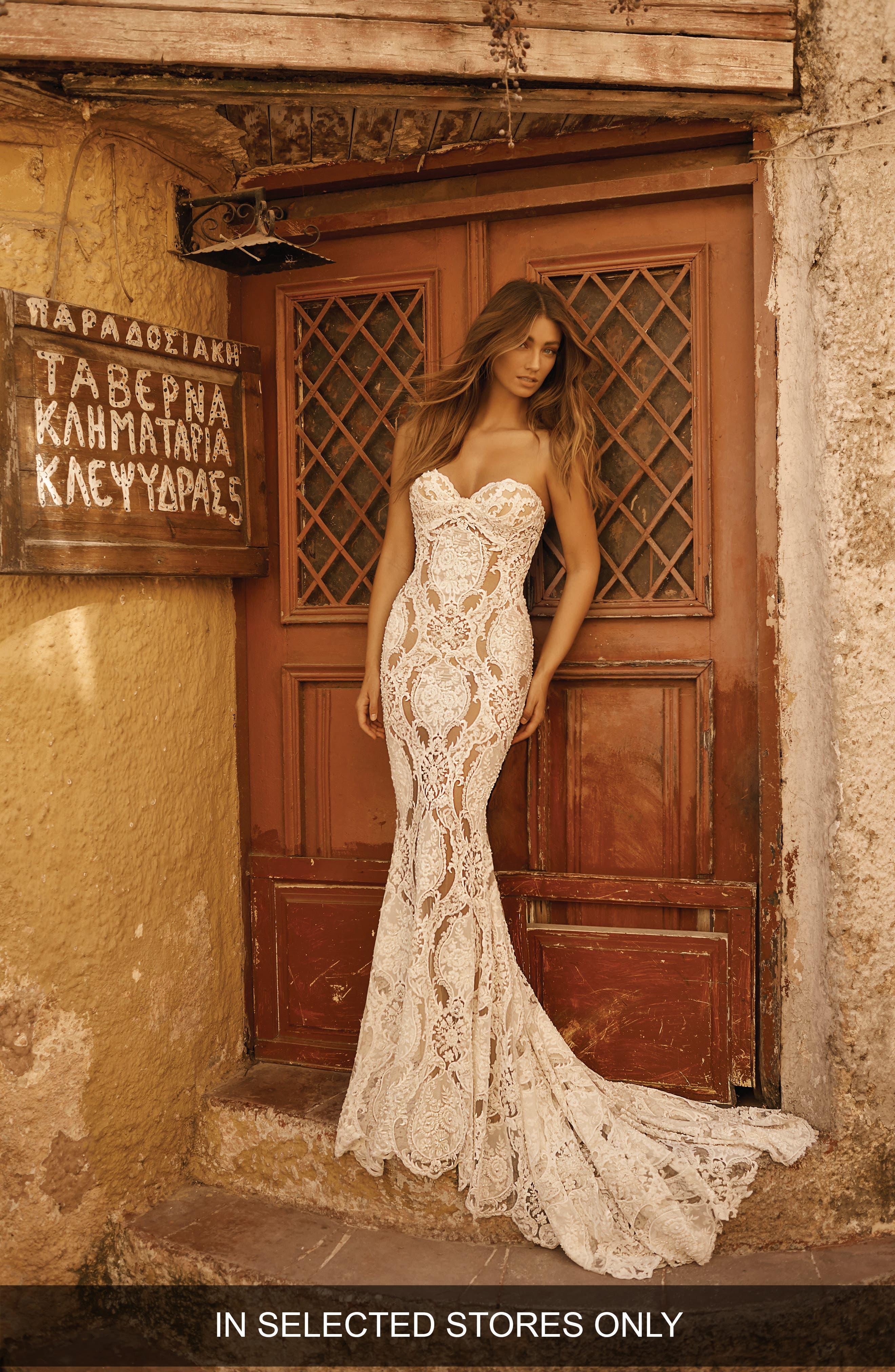 Berta Strapless Beaded Lace Mermaid Wedding Dress, Size - Ivory