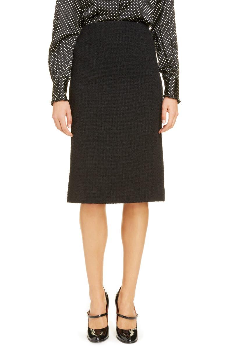 RUNWAY MARC JACOBS Crochet Trim Wool Blend Tweed Skirt, Main, color, 001