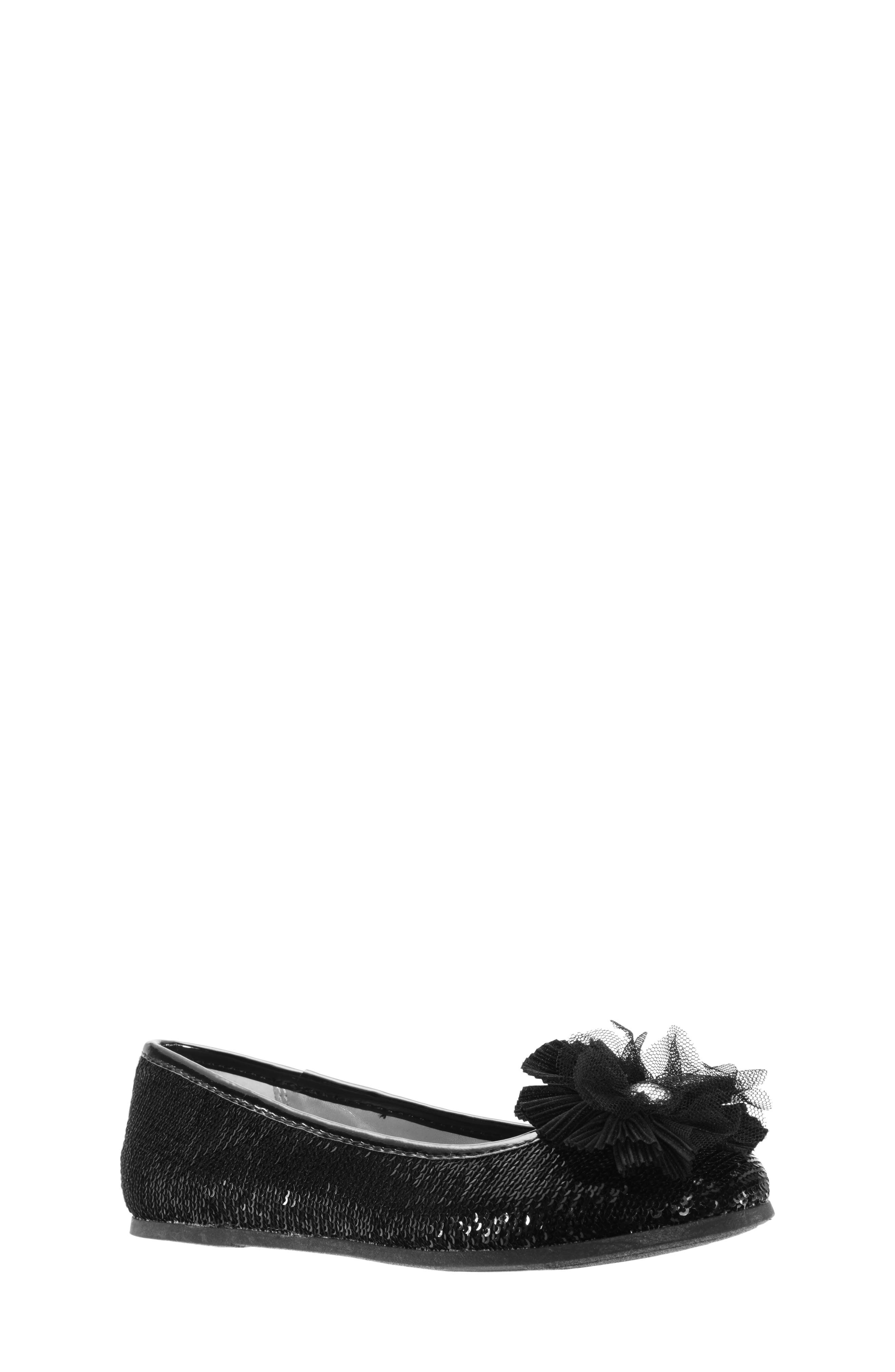 Girls Nina Sequin Ballet Flat Size 6 M  Black