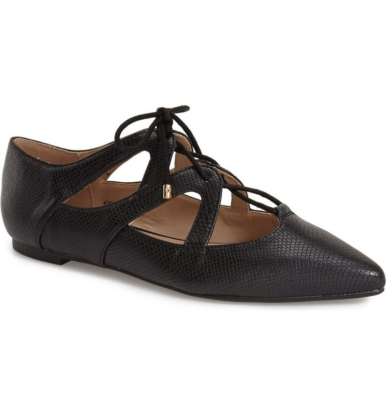 TOPSHOP 'Fickle' Pointy Toe Ghillie Flat, Main, color, 001