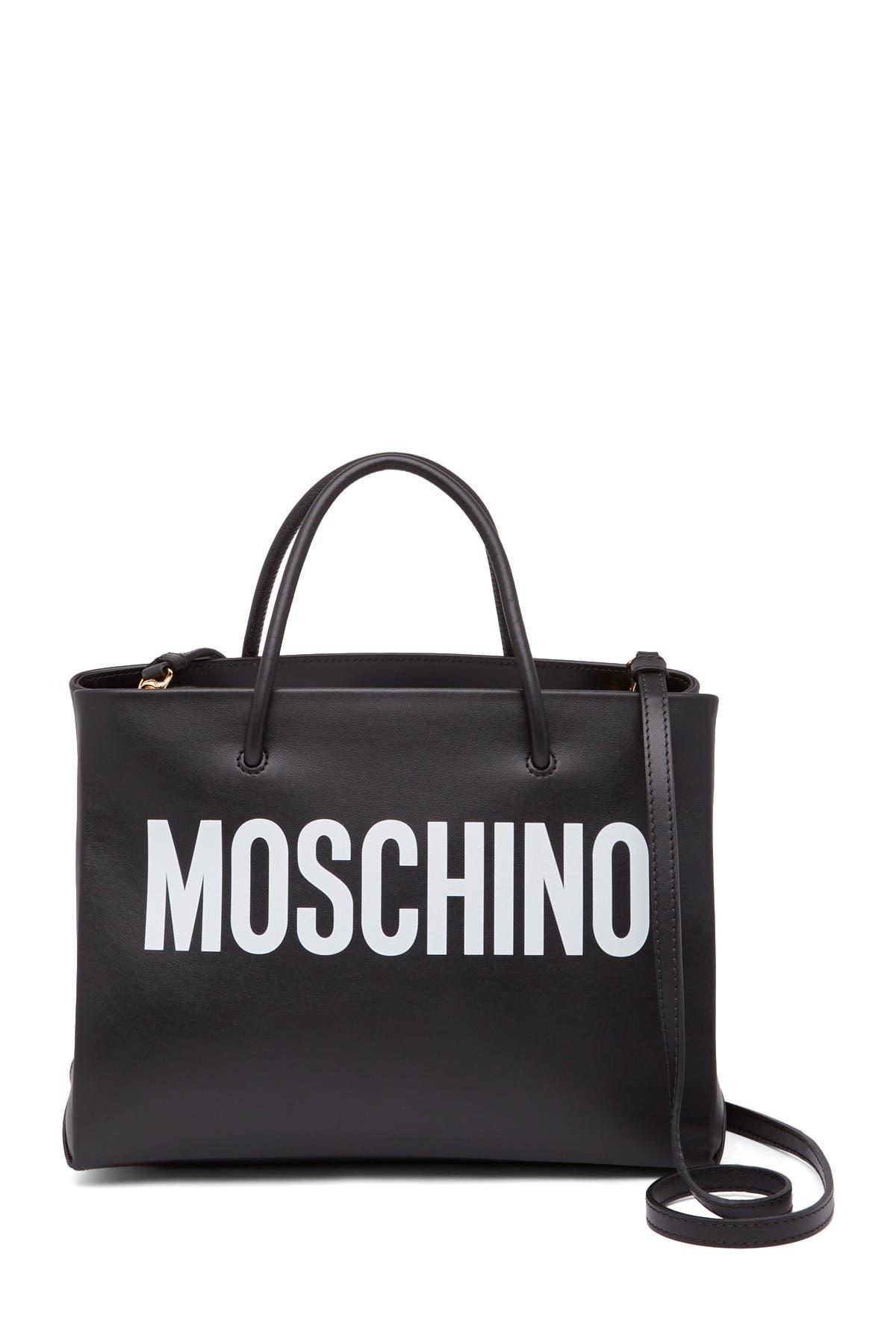 Image of MOSCHINO Logo Printed Leather Mini Tote