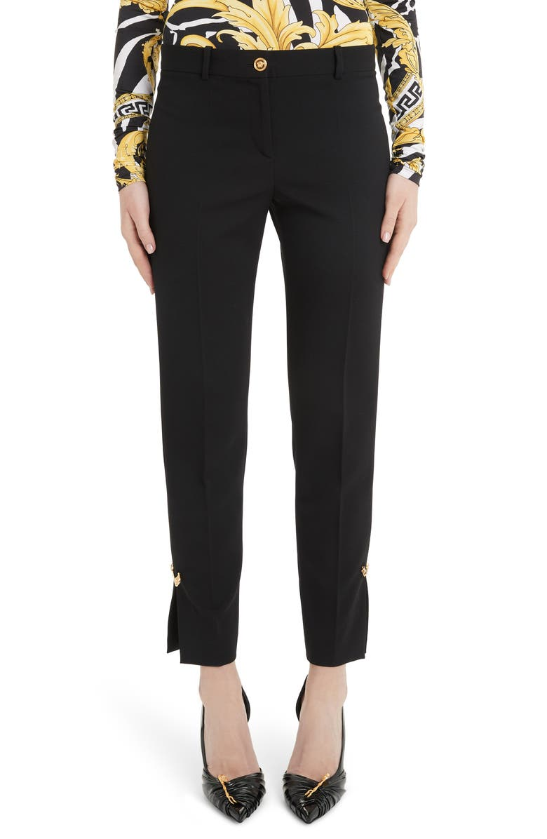 VERSACE Safety Pin Detail Slim Stretch Wool Pants, Main, color, BLACK