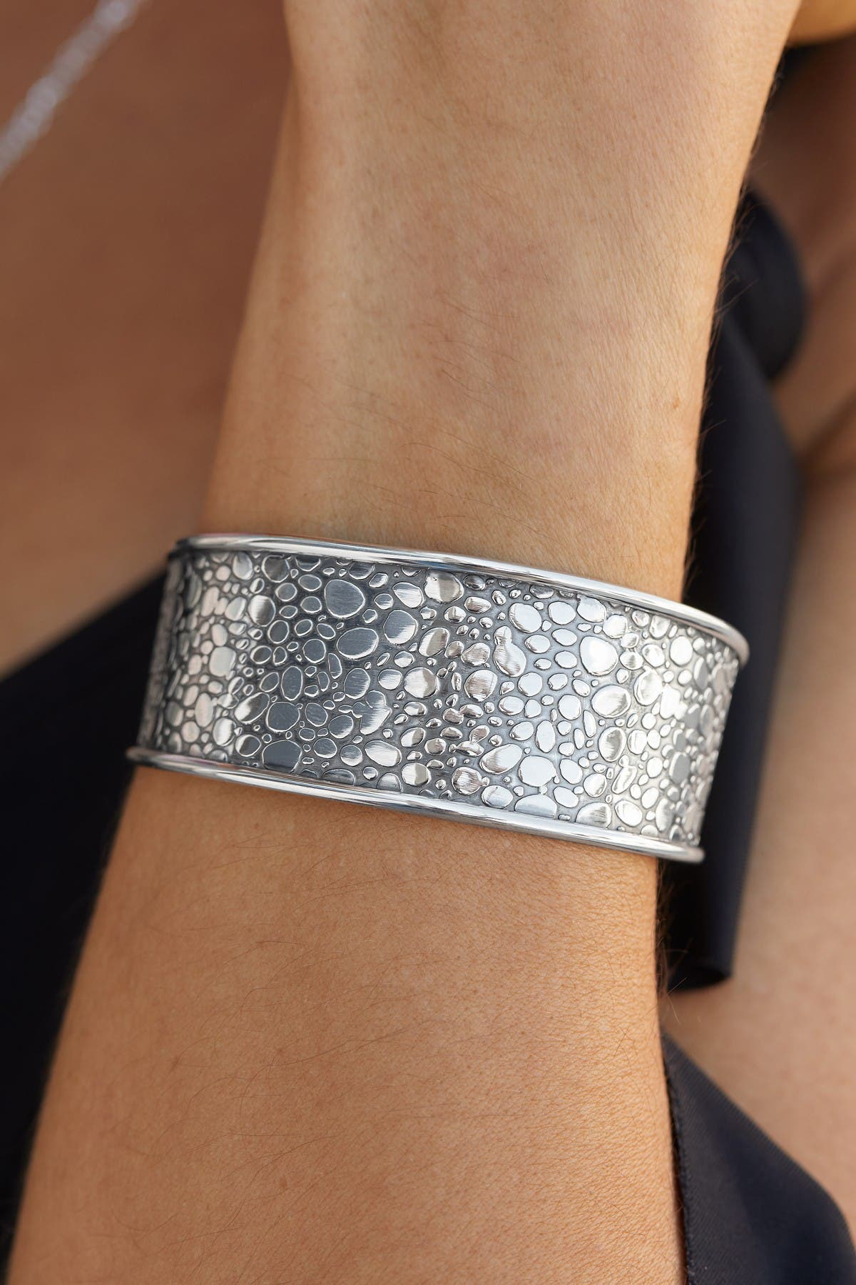 Image of Savvy Cie Sterling Silver Textured Pebble Cuff Bracelet